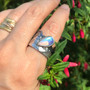 Moonlight Ring by Keiko Mita | Moonstone, Gold, Silver | Handmade Art Jewelry