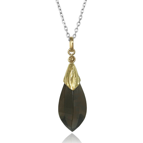 Aspen Pendant by Keiko Mita | Smokey Quartz, Gold, Diamond | Handmade Fine Jewelry