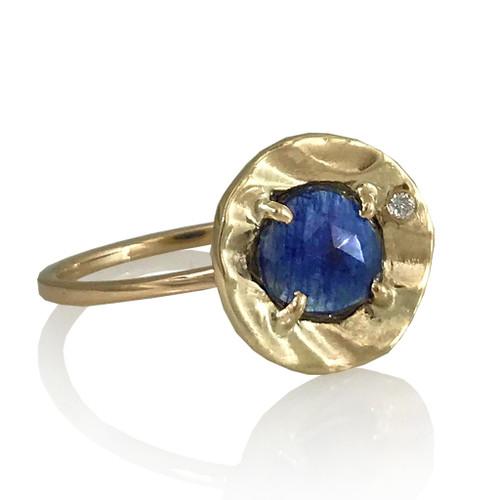 Blue Sapphire Petite Pebble Ring   Sapphire and Gold   Handmade Fine Jewelry