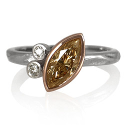 Elle Ring by Keiko Mita | Brown and White Diamonds, Gold | Handmade Fine Jewelry
