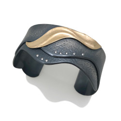 Gold and Silver Shoreline Cuff by Keiko Mita | Handmade Art Jewelry