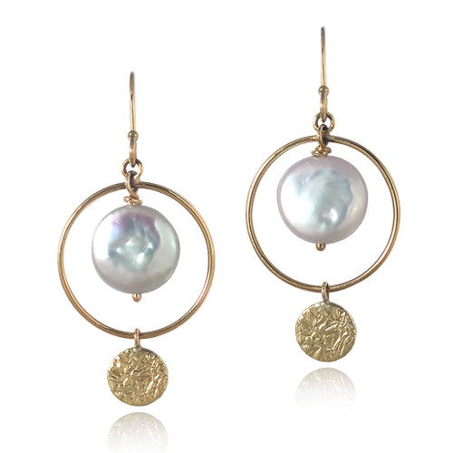 Hale Earrings by Keiko Mita    Gold and Coin Pearl   Handmade Fine Jewelry