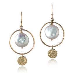 Hale Earrings by Keiko Mita  | Gold and Coin Pearl | Handmade Fine Jewelry