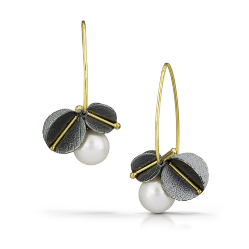 Veinline Pearl Blossom Earrings, 18K Gold, Oxidized Silver, Pearl by Christine Mackellar