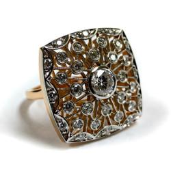 Luba Cushion Ring, 18 Karat White Gold and 18 Karat Yellow Gold, Diamonds, Fine Art Jewelry by Oleg Zaydman