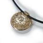 Luba Round Pendant, 18 Karat Yellow Gold on back and 18 Karat White Gold with Rhodium Plating on the front, Diamonds, Fine Art Jewelry by Oleg Zaydman