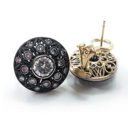 Luba Round Earrings, 18 Karat White Gold with black rhodium plating and 18 Karat yellow gold, Diamonds, Fine Art Jewelry by Oleg Zaydman
