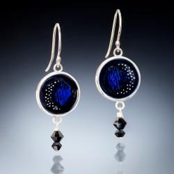 Night Sky Earrings, Vitreous Blue Enamel and Crystal, Art Enamel Jewelry by Sheila Beatty