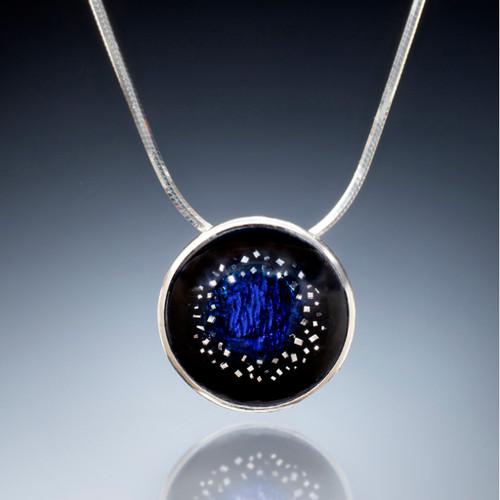 Night Sky Necklace, Vitreous Blue Enamel, Enamel Art Jewelry by Sheila Beatty