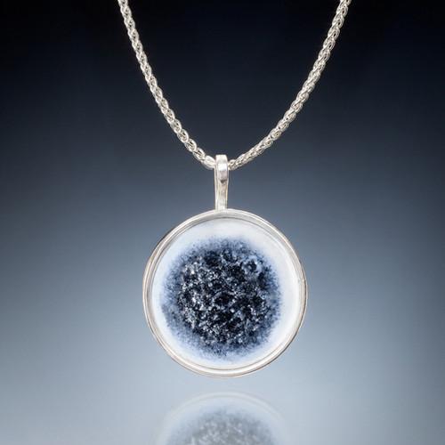 Silver Strands Necklace, Vitreous Enamel, Enamel Art Jewelry by Sheila Beatty