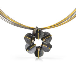Urban Daisy Necklace, Textured Oxidized Sterling Silver and Gold by Christine Mackellar