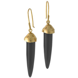 Susan Crow's contemporary Black Jet and Gold Drop Earrings | Black Jet gemstones and recycled 14 Karat yellow gold