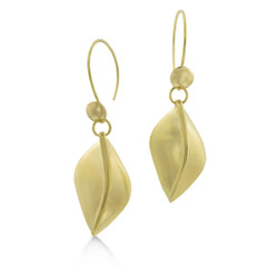 Susan Crow's Floral Leaf Drop Fairmined Gold Earrings | Fairmined 18 Karat Yellow Gold