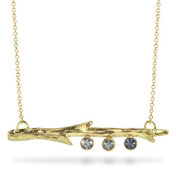 Susan Crow's Montana Sapphire and Fairmined Gold Branch Pendant | 18 Karat Fairmined Yellow Gold