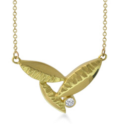 Susan Crow's Diamond and Fairmined Gold Flora Leaf Pendant | 18 Karat Fairmined Yellow Gold