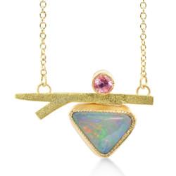 Susan Crow's modern Sapphire, Opal and Gold Branch Pendant | 14 Karat and 18 Karat Recycled Gold | Montana Sapphire and Australian Opal