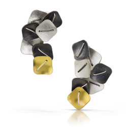Black Clustered Square Earrings, Argentium Silver and 22 K arat Gold, Contemporary Jewelry by Suzanne Schwartz