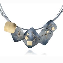 Black Interwoven Square Necklace, Oxidized Silver and Gold, Handmade Contemporary Jewelry by Suzanne Schwartz