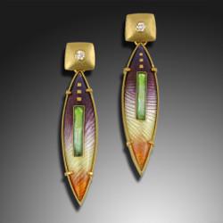 Modern Enamel Jewelry, Sunrise Drop Earrings by Amy Roper Lyons