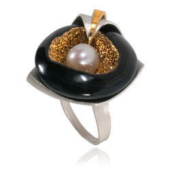 Modern Art Jewelry from Aleksandra Vali featuring a Druzy Agate and Akoya Pearl | Sterling Silver and Gold Vermeil