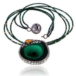 Modern Art Jewelry from Aleksandra Vali | Sterling Silver and 18 Karat Gold | Malachite with Sapphires and Citrine