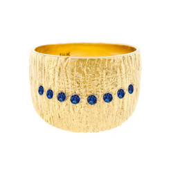 Anit Dodhia's Flare Ring | 18 Karat Yellow Gold and 0.24 Carat Blue Sapphires | Maya Collection