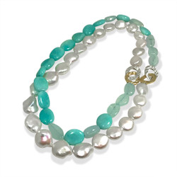 Color Block Pearl Necklace | Gold and Silver with Gemstones | Handmade Fine Jewelry by Keiko Mita