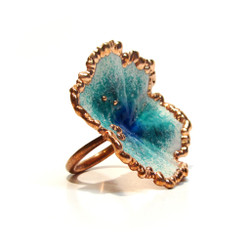 Opalescent Blue Ring   Blue Glass Enamel and Copper   Art Jewelry by Cheryle Eve Acosta