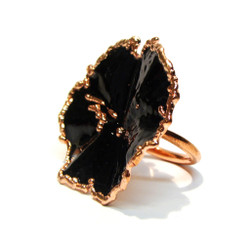 Black Ring | Black Glass Enamel and Copper | Art Jewelry by Cheryle Eve Acosta
