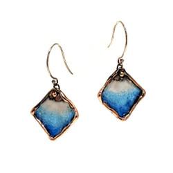 Sting Ray Earrings   Cascading Blue Glass Enamel   Art Jewelry by Cheryl Eve Acosta