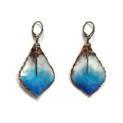 Sea Pen Earrings   Blue Glass Enamel   Art Jewelry by Cheryl Eve Acosta