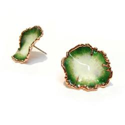 Flora Studs   Peacock Green Glass Enamel   Art Jewelry by Cheryl Eve Acosta