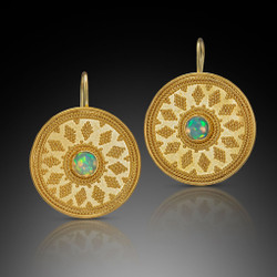 Modern Art Jewelry | 22 Karat Gold Disc Earrings Hand-Fabricated by Beth Farber | Rainbow Opals | Granulation