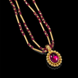 Modern Art Jewelry | Rubellite Cabochon set in a Hand-Fabricated 22 Karat Gold Bezel | Ruby and 18 Karat Gold Beads | Granulation