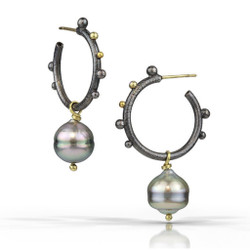 Modern Etruscan Earring | Gold, Oxidized Silver and Tahitian Pearl | Modern Art Jewelry by Christine Mackellar