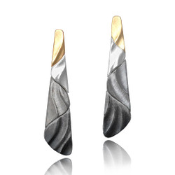 Medi Ombre Earrings | Gold and Silver | Contemporary Art Jewelry by Keiko Mita