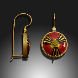 Modern Enamel Jewelry, Crimson Burst Earrings by Amy Roper Lyons