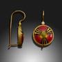 Modern Enamel Jewelry, Crimson Burst Earrings by Amy Roper Lyons