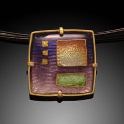 Enamel Art Jewelry, Morning Landscape Pendant by Amy Roper Lyons