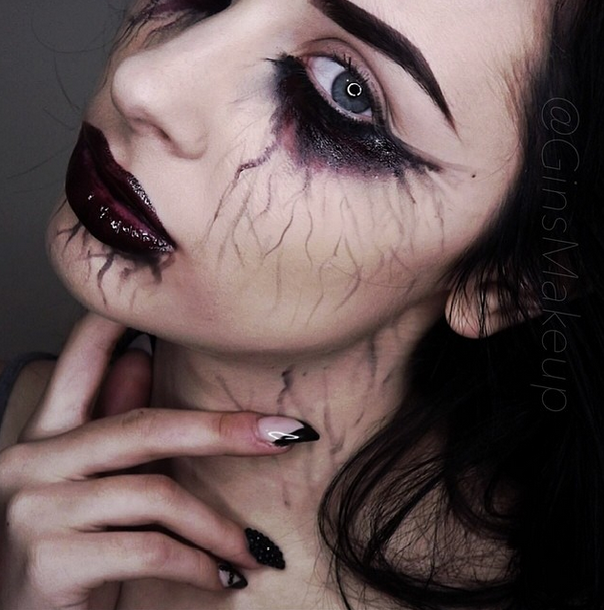 scary halloween makeup by gina ginsmakeup