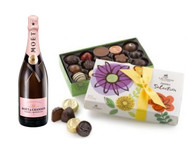 Moet Rose Champagne w/Spring Chocolates