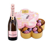 Moet Rose w/Godiva 32pc Truffle Flower Box