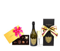 Dom Perignon 2010 w/8pc Godiva Chocolates Pink Bow