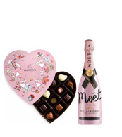 Moet Rose & Heart Shaped Godiva Chocolate Box
