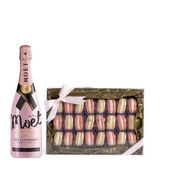 Moet Rose w/Champagne Macarons 24pc.