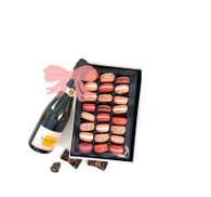 Veuve Clicquot Rose w/Valentine's Day Macarons 24pc.