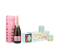 Happy Birthday Candy Box w/Moet Rose