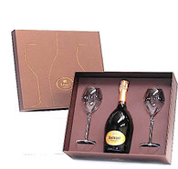 Ruinart Brut Champagne and 2 Glass Champagne Flutes