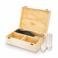 Celebrate Wood Champagne Box w/Flutes
