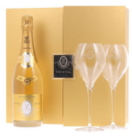 Louis Roederer Cristal Brut with Two Flutes and Gift Box 2008
